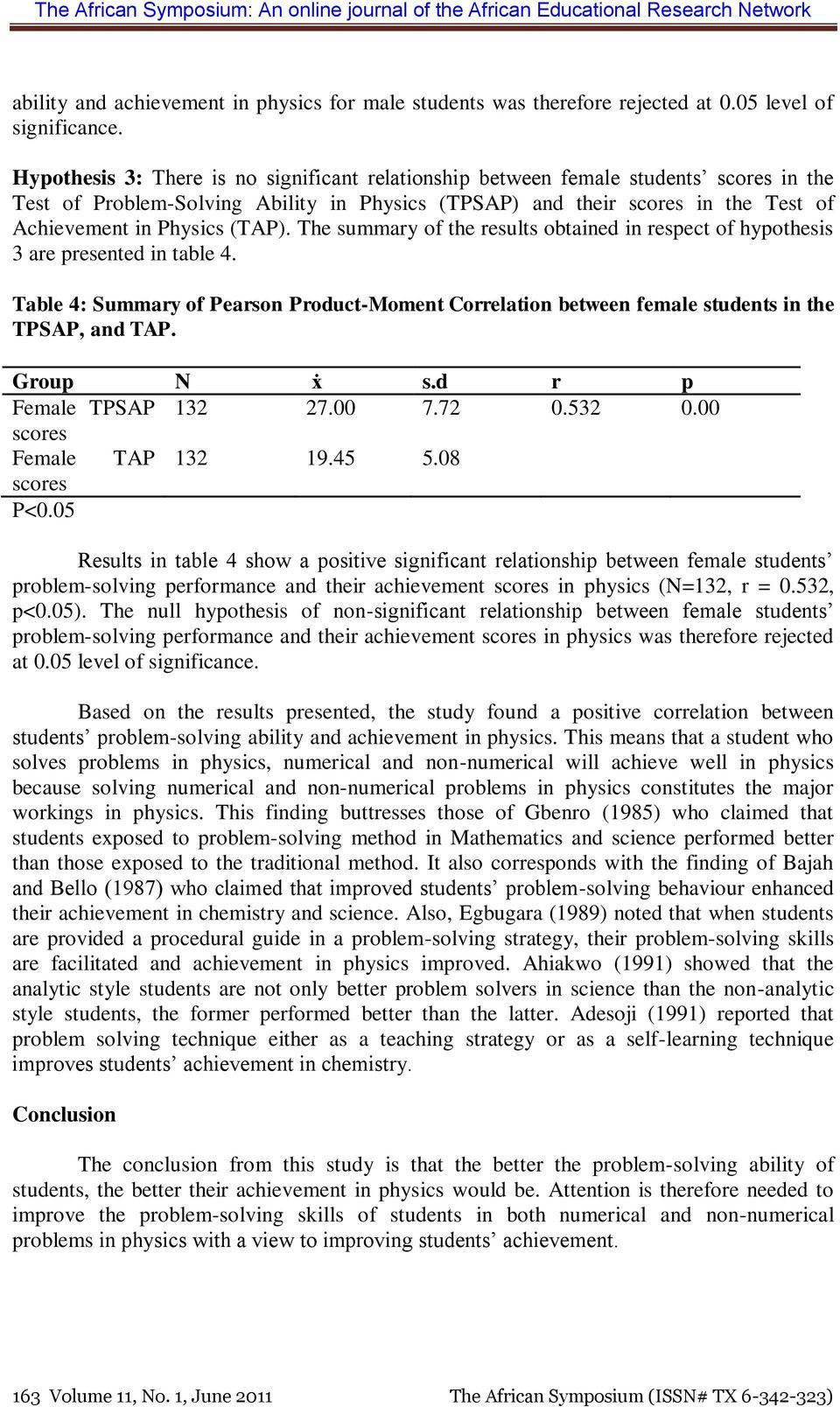 The summary of the results obtained in respect of hypothesis 3 are presented in table 4. Table 4: Summary of Pearson Product-Moment Correlation between female students in the TPSAP, and TAP.