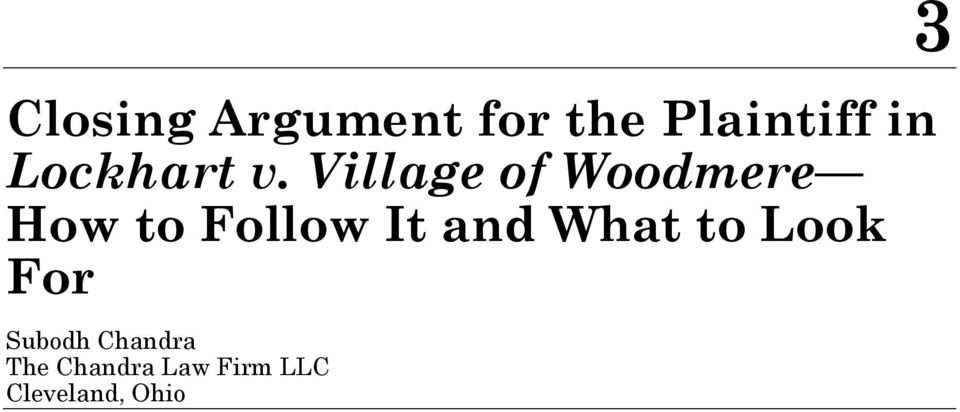 Village of Woodmere How to Follow It and