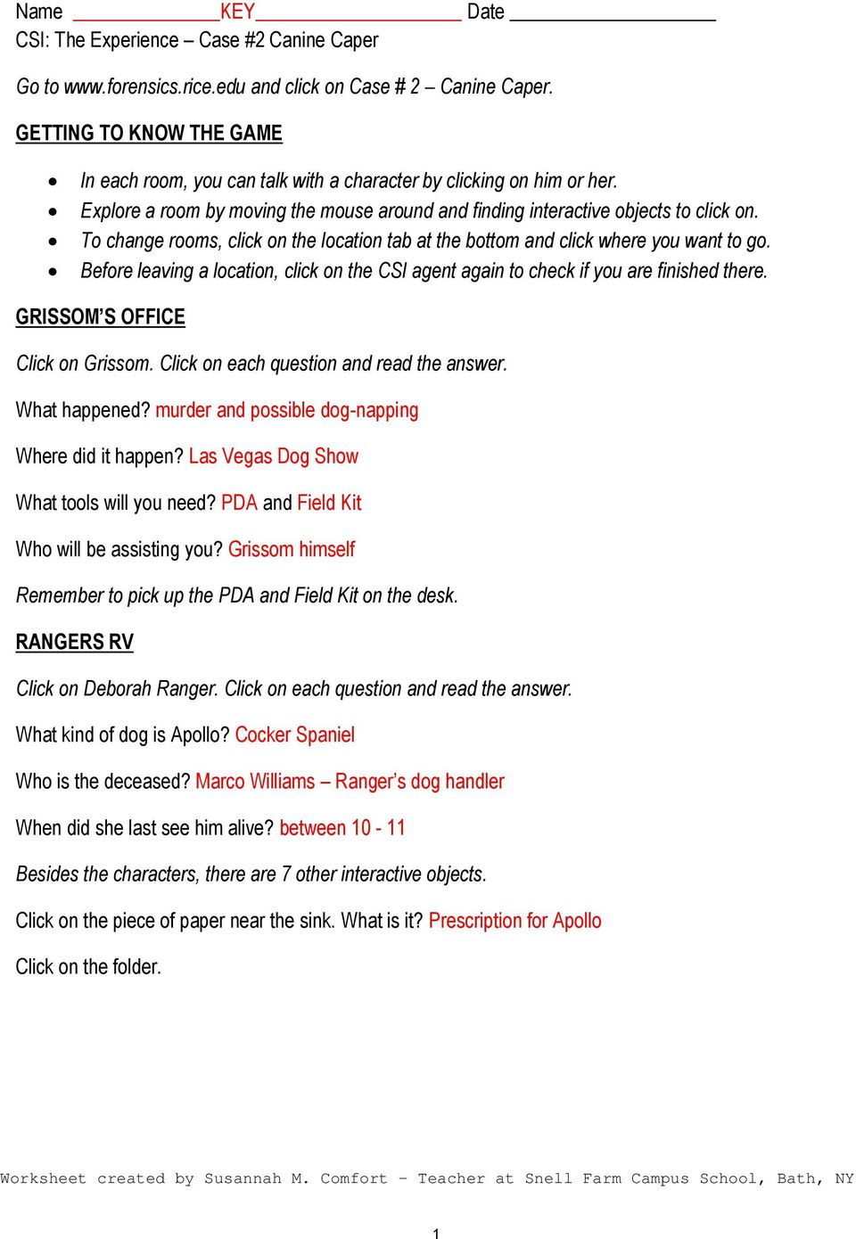 worksheet Crime Scene Basics Worksheet 2 Answers name key date csi the experience case 2 canine caper click on to change rooms location tab at bottom and where you
