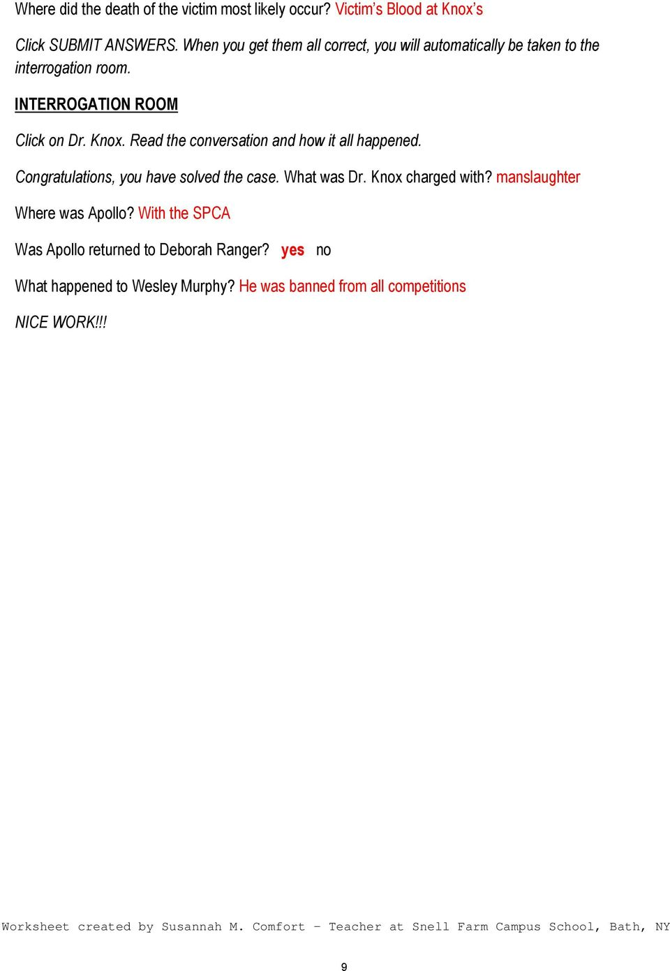 worksheet Csi Web Adventures Worksheet name key date csi the experience case 2 canine caper click on read conversation and how it all happened congratulations you have solved case