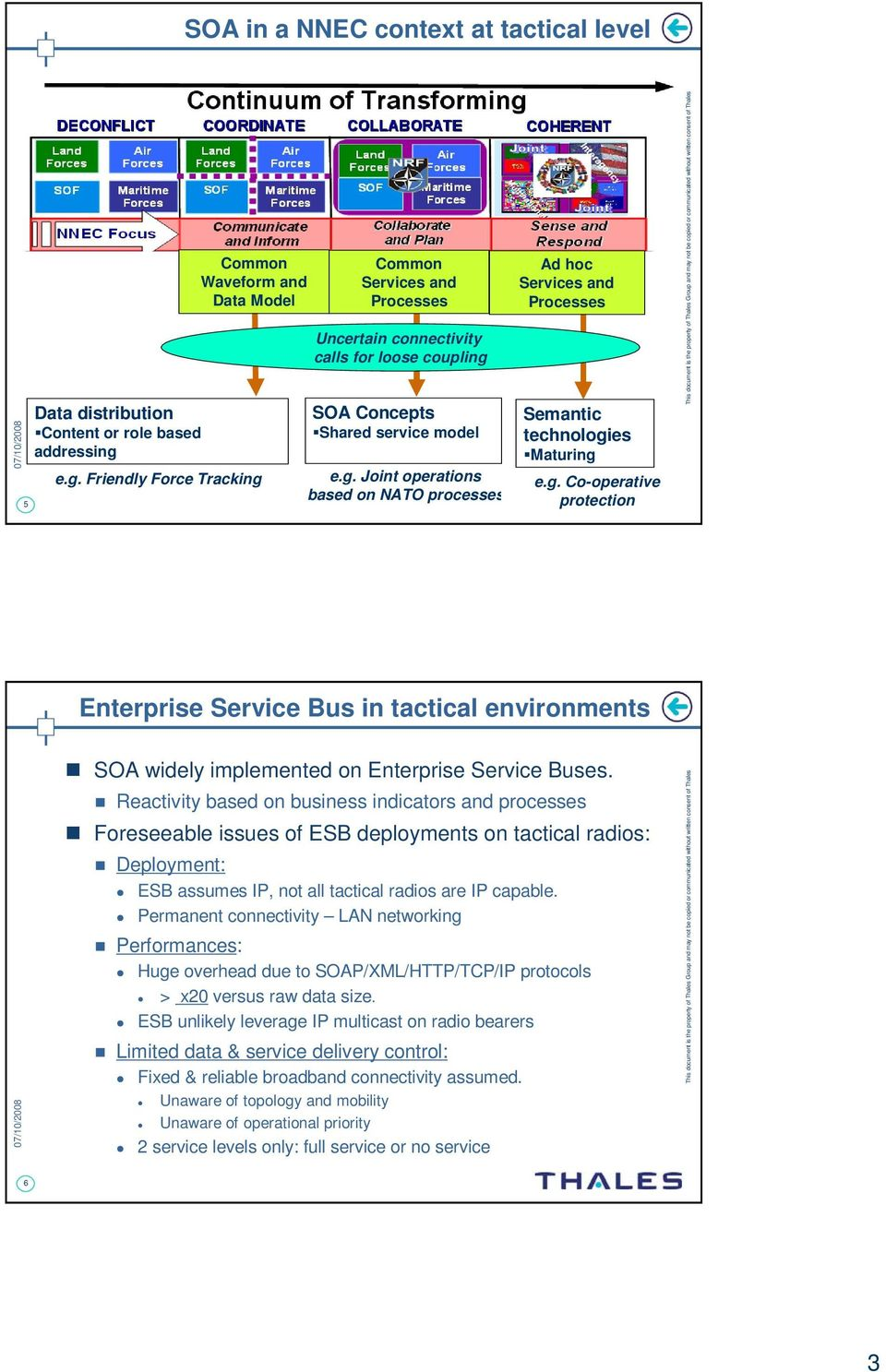 g. Co-operative protection Enterprise Bus in tactical environments SOA widely implemented on Enterprise Buses.