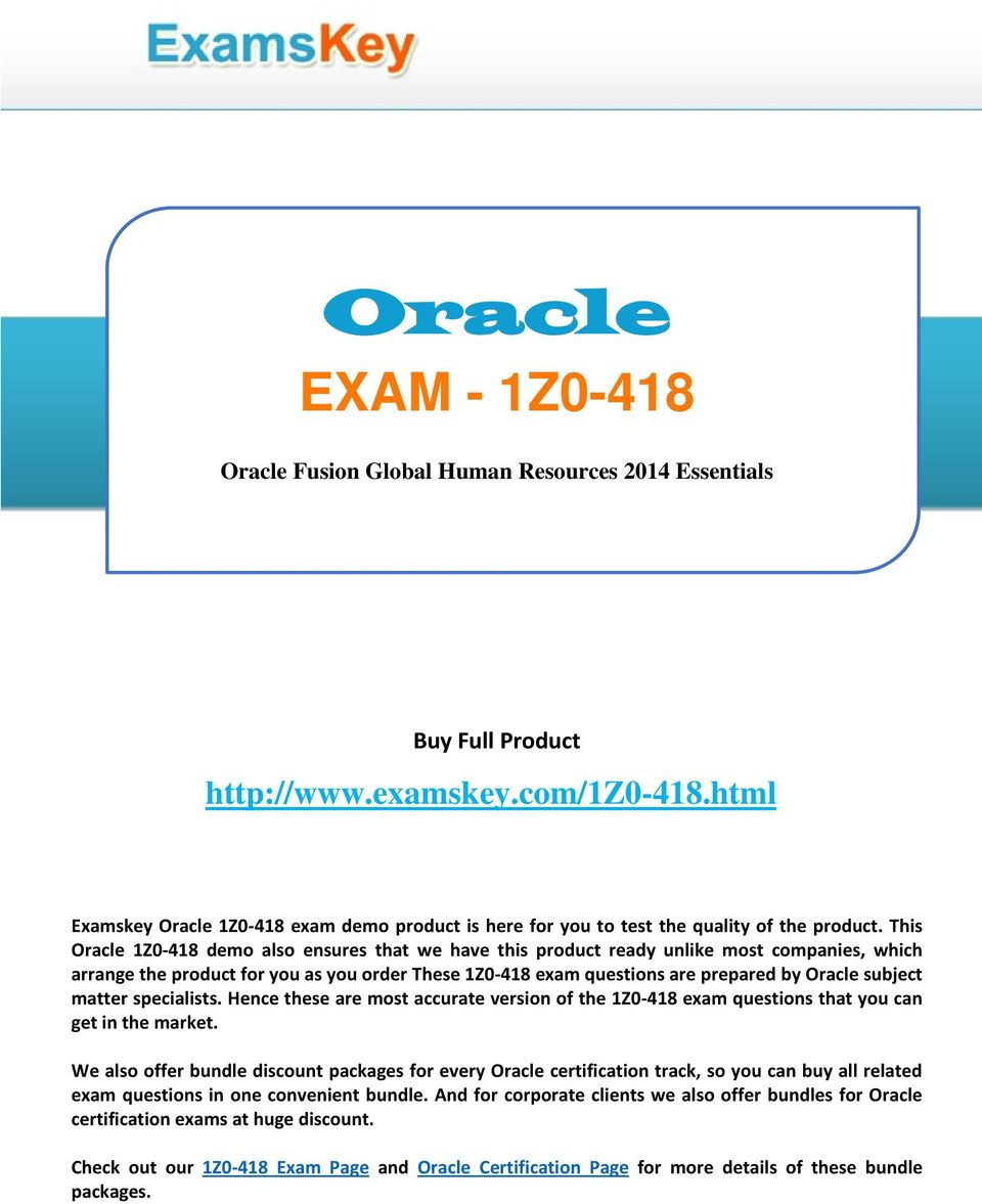 Oracle Exam 1z Oracle Fusion Global Human Resources 2014
