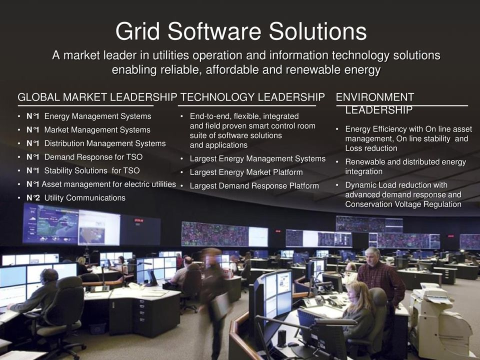 Communications TECHNOLOGY LEADERSHIP End-to-end, flexible, integrated and field proven smart control room suite of software solutions and applications Largest Energy Management Systems Largest Energy