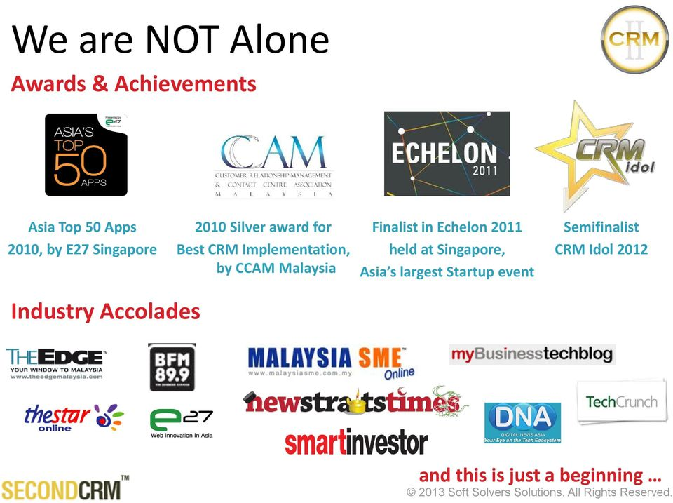 Best CRM Implementation, by CCAM Malaysia held at Singapore, Asia s