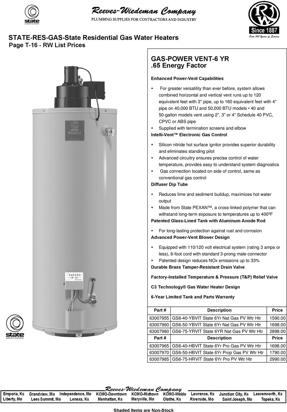 State Res Gas State Residential Gas Water Heaters Rw List