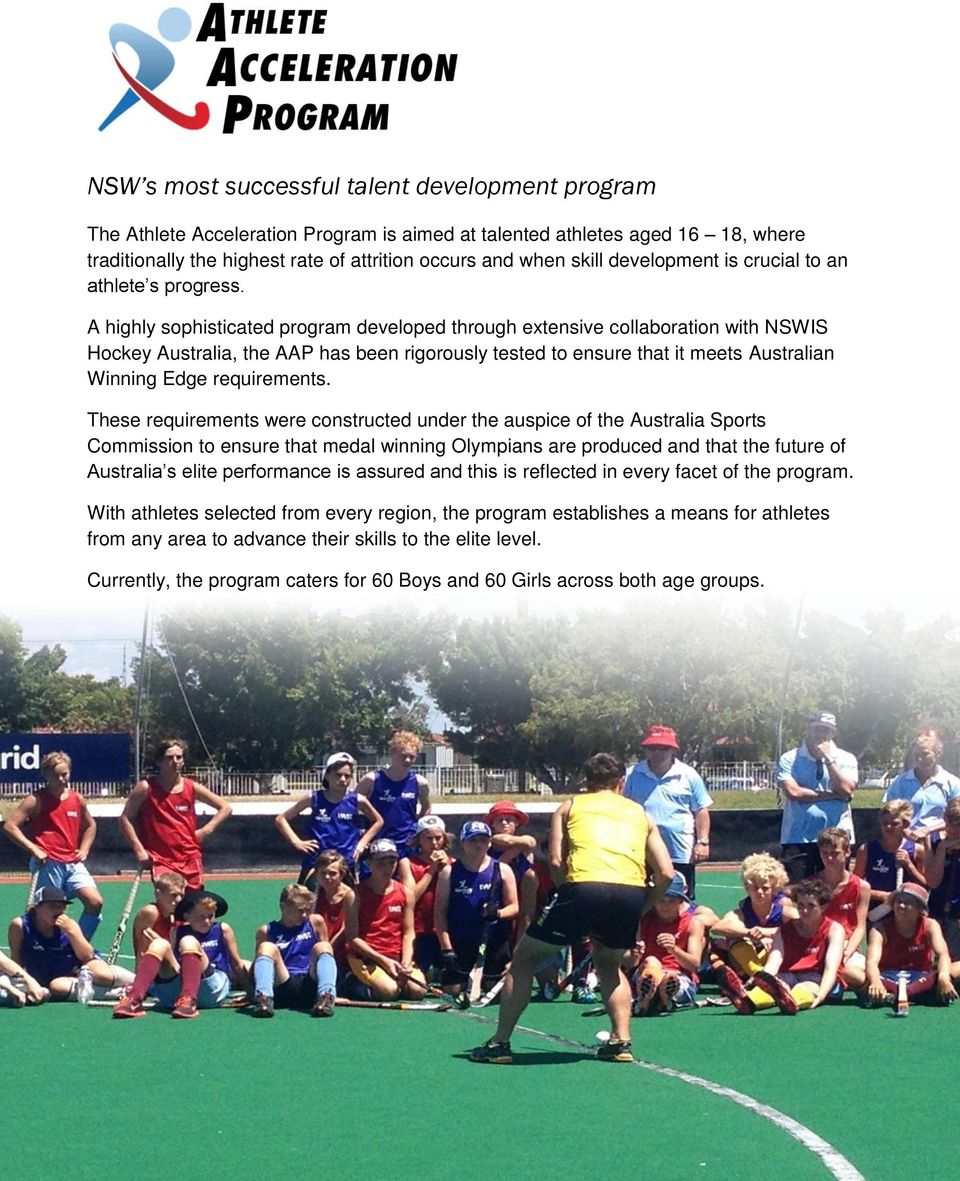 A highly sophisticated program developed through extensive collaboration with NSWIS Hockey Australia, the AAP has been rigorously tested to ensure that it meets Australian Winning Edge requirements.