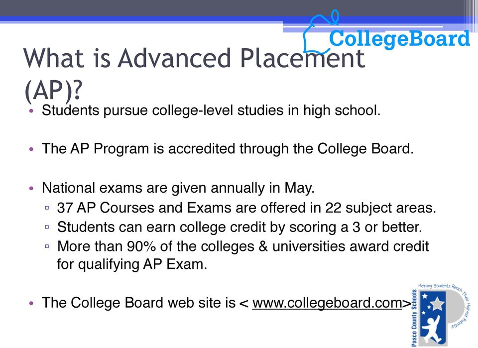 """ 37 AP Courses and Exams are offered in 22 subject areas."