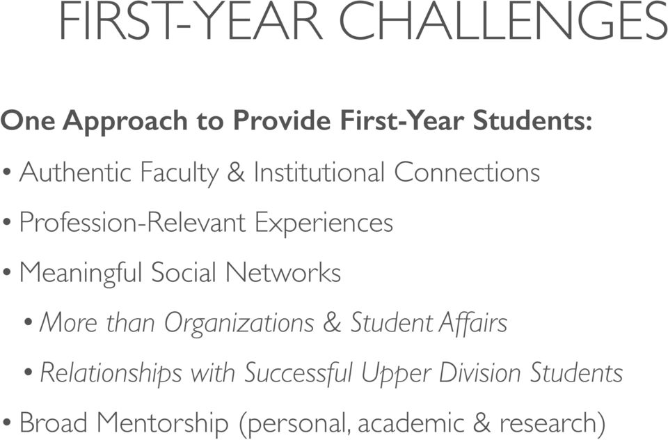 Social Networks More than Organizations & Student Affairs Relationships with