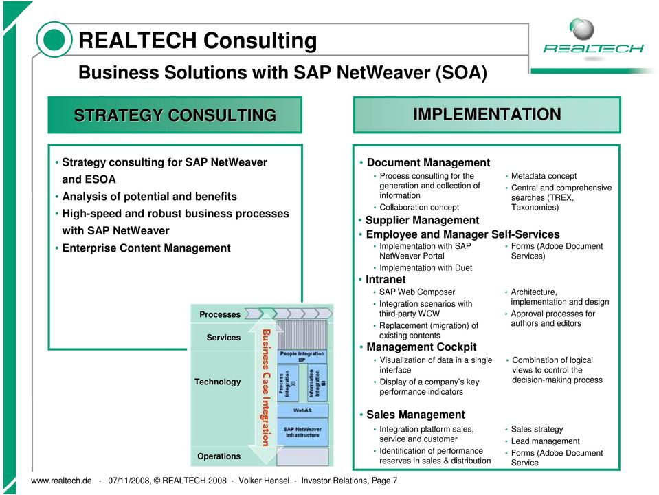 Collaboration concept Metadata concept Central and comprehensive searches (TREX, Taxonomies) Supplier Management Employee and Manager Self-Services Implementation with SAP NetWeaver Portal