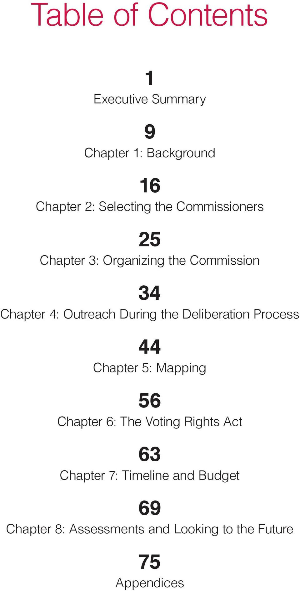the Deliberatio Process 44 Chapter 5: Mappig 56 Chapter 6: The Votig Rights Act 63