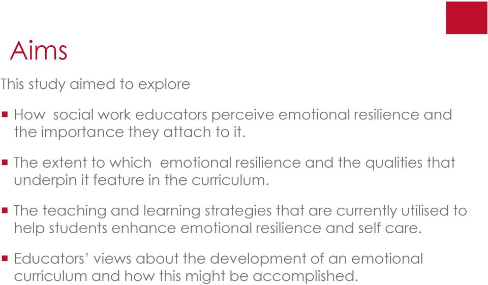 The extent to which emotional resilience and the qualities that underpin it feature in the curriculum.