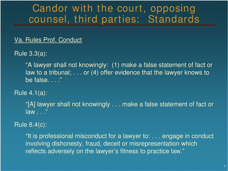 .. or (4) offer evidence that the lawyer knows to be false.... Rule 4.1(a): [A] lawyer shall not knowingly.