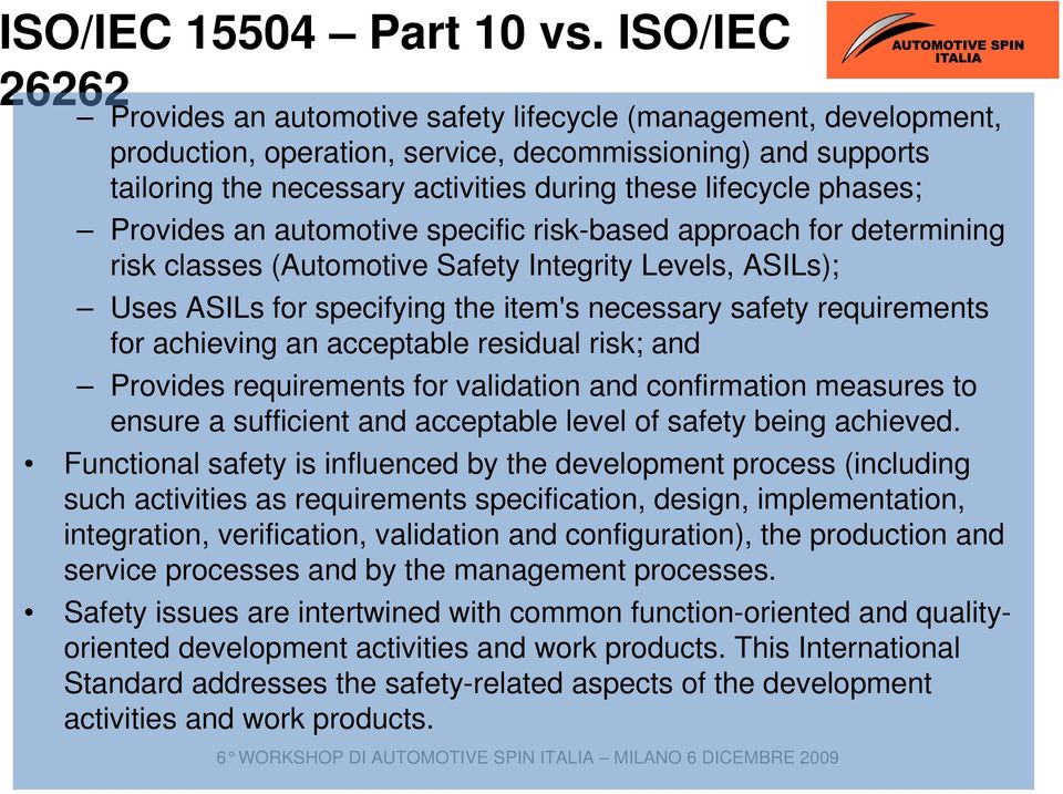 phases; Provides an automotive specific risk-based approach for determining risk classes (Automotive Safety Integrity Levels, ASILs); Uses ASILs for specifying the item's necessary safety