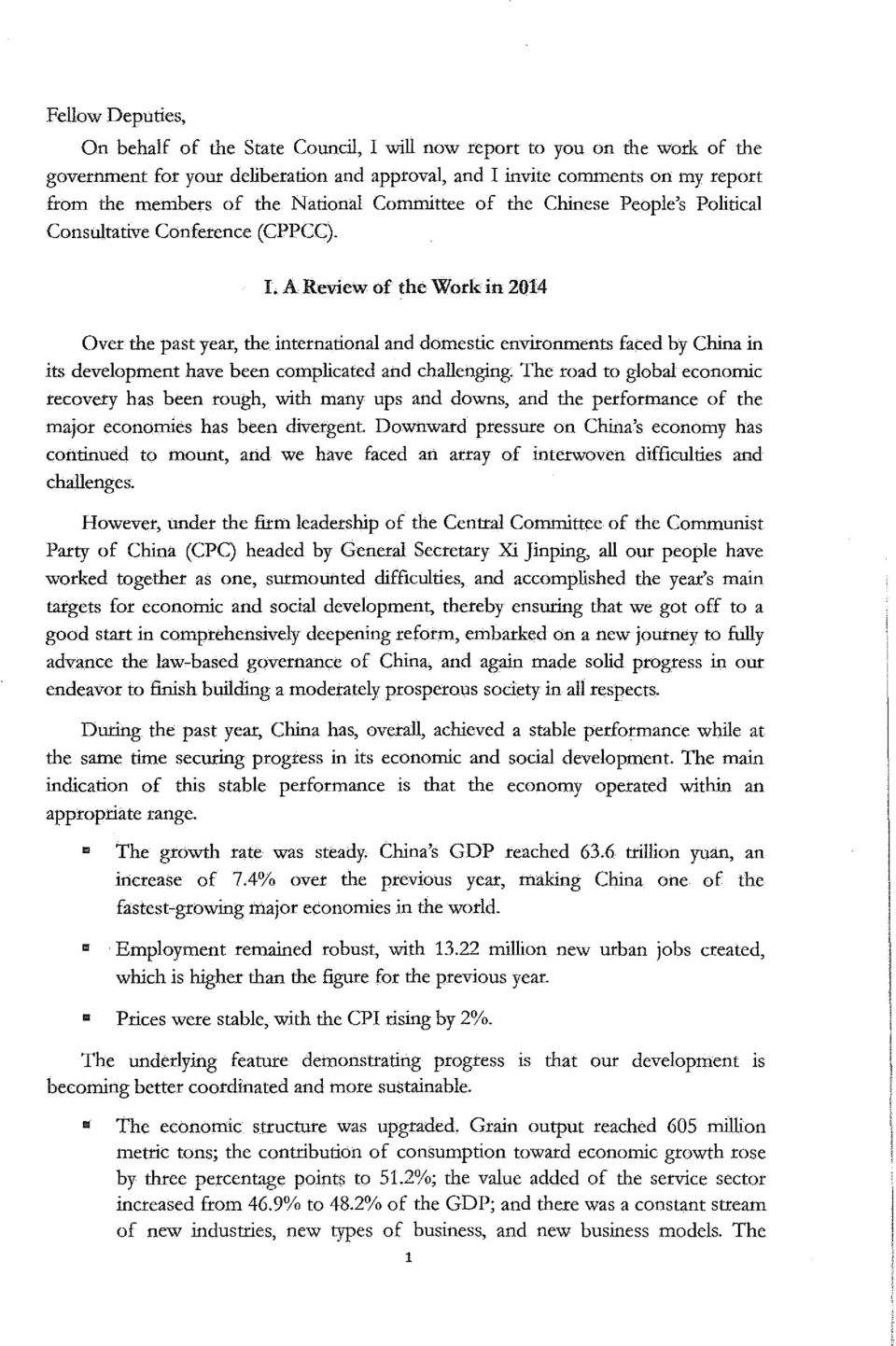 A Review of the Work in 2014 Over the past year, 也 e interna 包 onal and domestic environments faced by China in its development have been complicated and challenging.