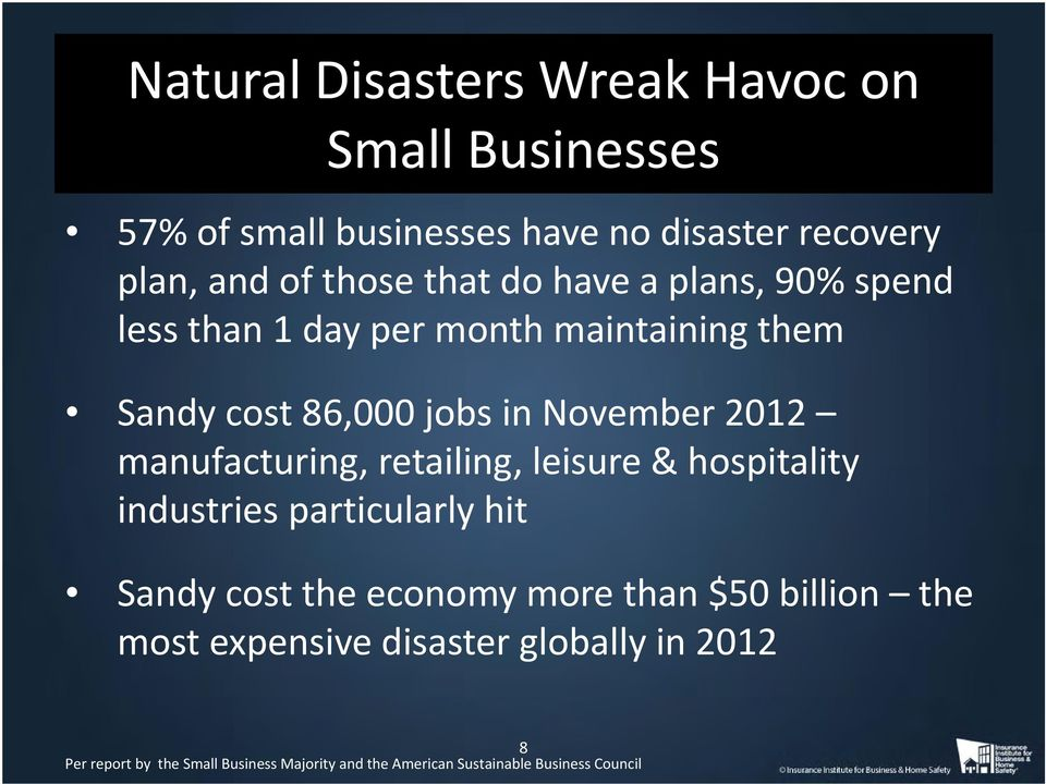manufacturing, retailing, leisure & hospitality industries particularly hit Sandy cost the economy more than $50 billion