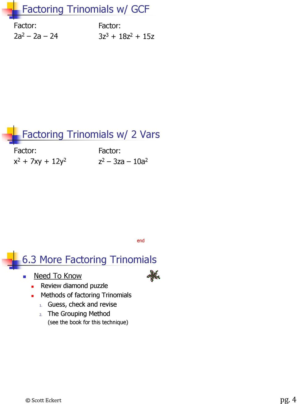 3 More Factoring Trinomials Need To Know Review diamond puzzle Methods of