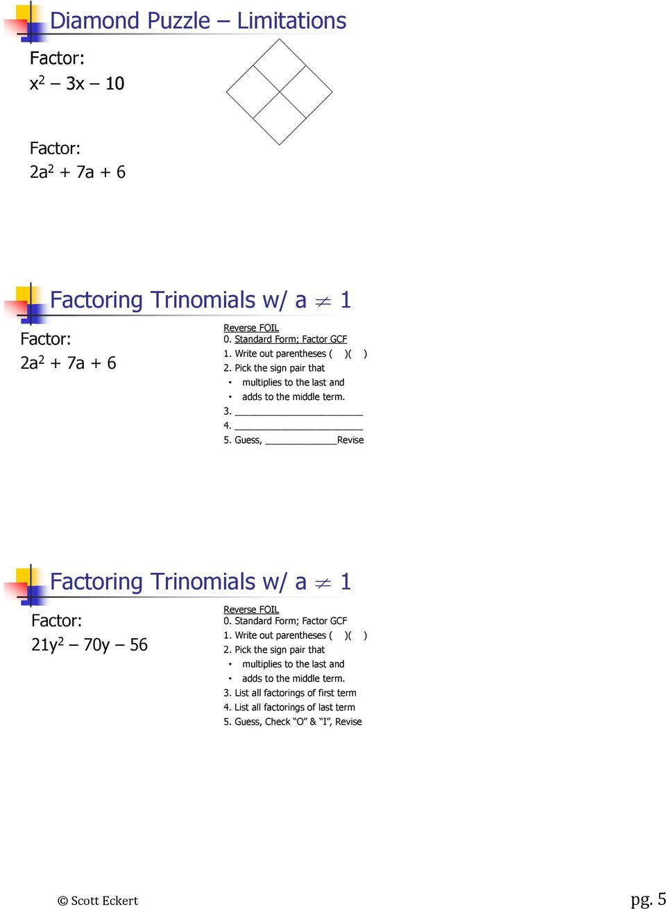 Guess, Revise Factoring Trinomials w/ a 1 21y 2 70y 56 Reverse FOIL 0. Standard Form; Factor GCF 1. Write out parentheses ( )( ) 2.