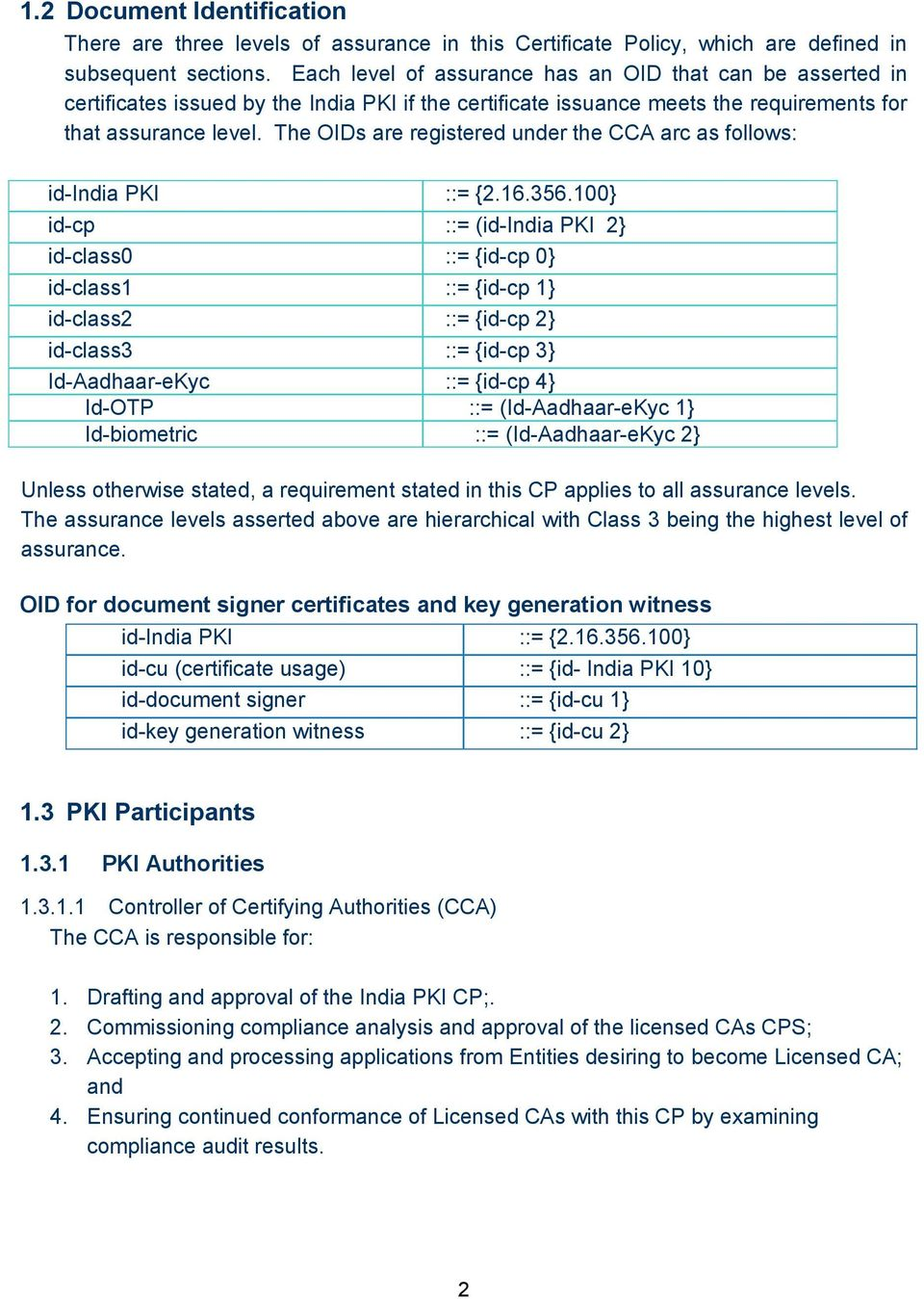 The OIDs are registered under the CCA arc as follows: id-india PKI ::= {2.16.356.