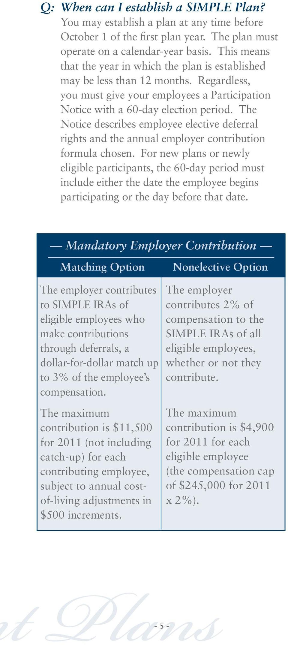 The Notice describes employee elective deferral rights and the annual employer contribution formula chosen.