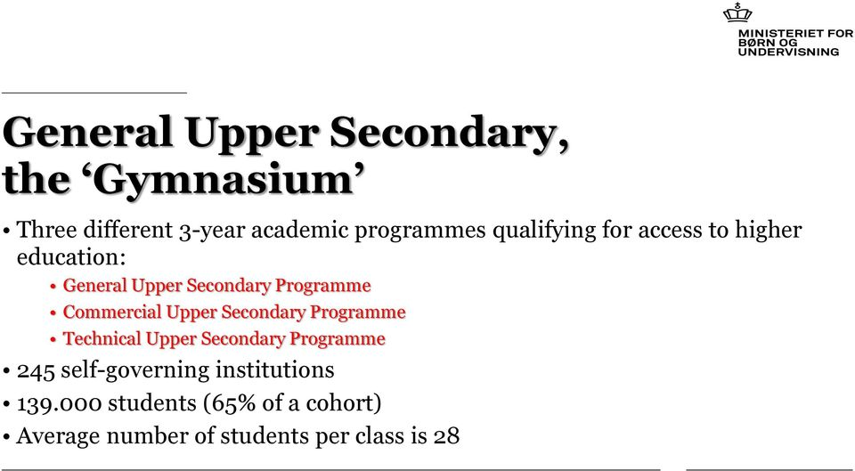 Commercial Upper Secondary Programme Technical Upper Secondary Programme 245