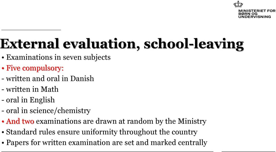 science/chemistry And two examinations are drawn at random by the Ministry Standard