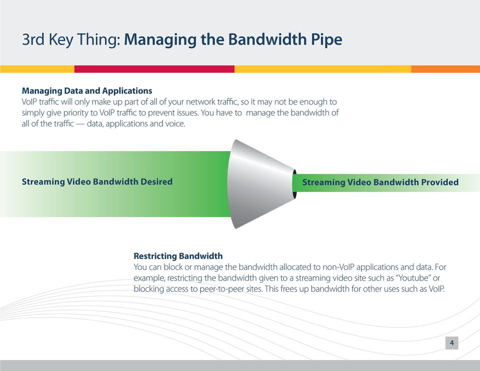 Streaming Video Bandwidth Desired Streaming Video Bandwidth Provided Restricting Bandwidth You can block or manage the bandwidth allocated to non- applications