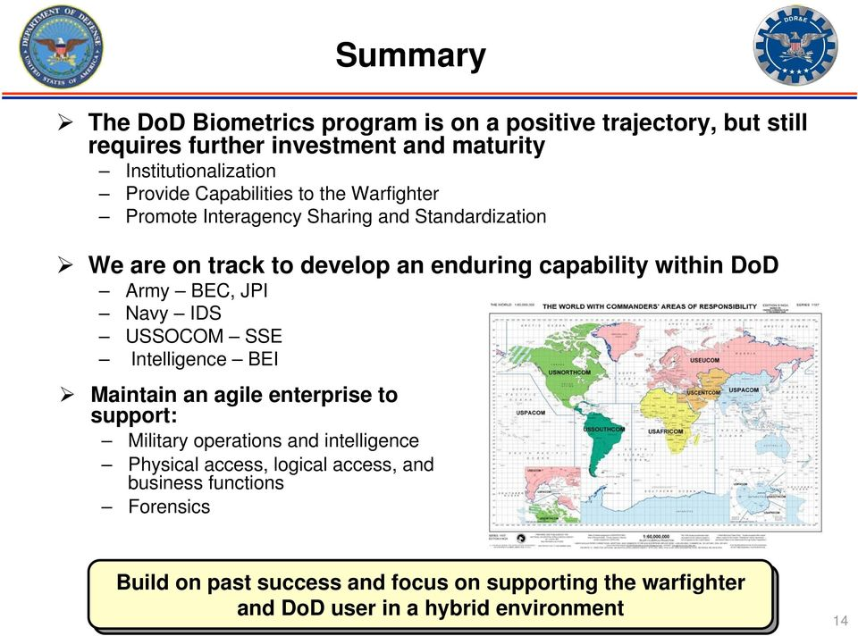 BEC, JPI Navy IDS USSOCOM SSE Intelligence BEI Maintain an agile enterprise to support: Military operations and intelligence Physical access,