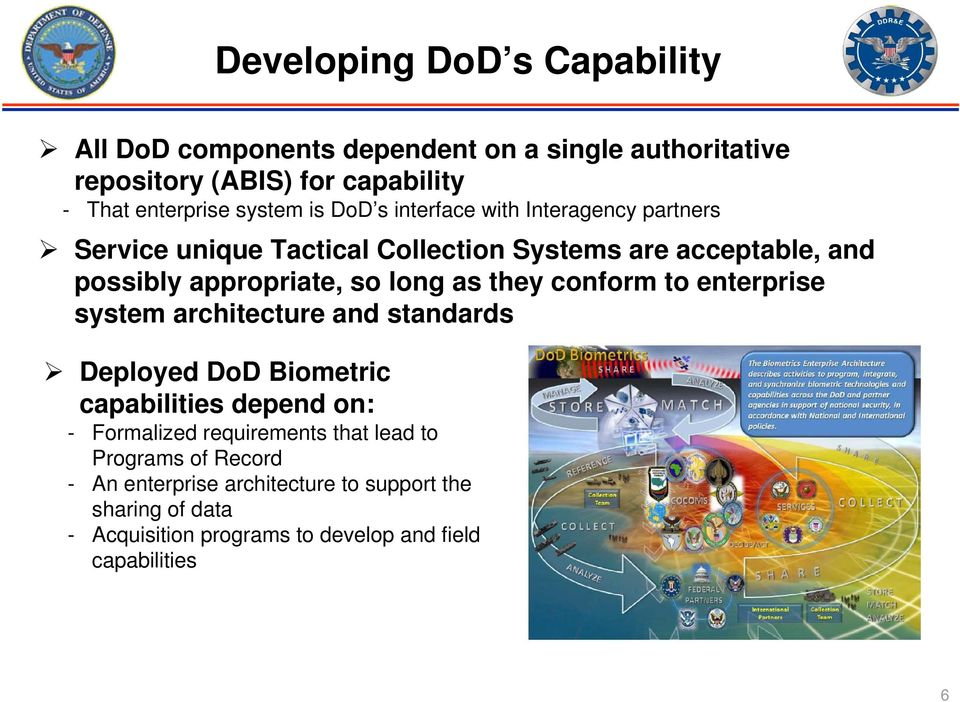 they conform to enterprise system architecture and standards Deployed DoD Biometric capabilities depend on: - Formalized requirements that