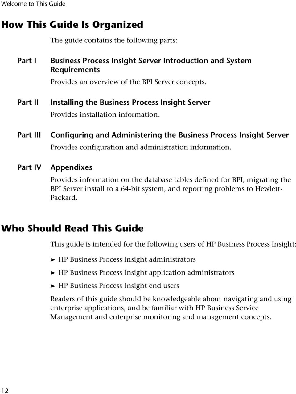 Configuring and Administering the Business Process Insight Server Provides configuration and administration information.