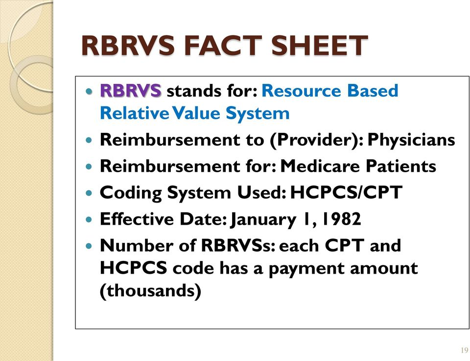 Patients Coding System Used: HCPCS/CPT Effective Date: January 1, 1982