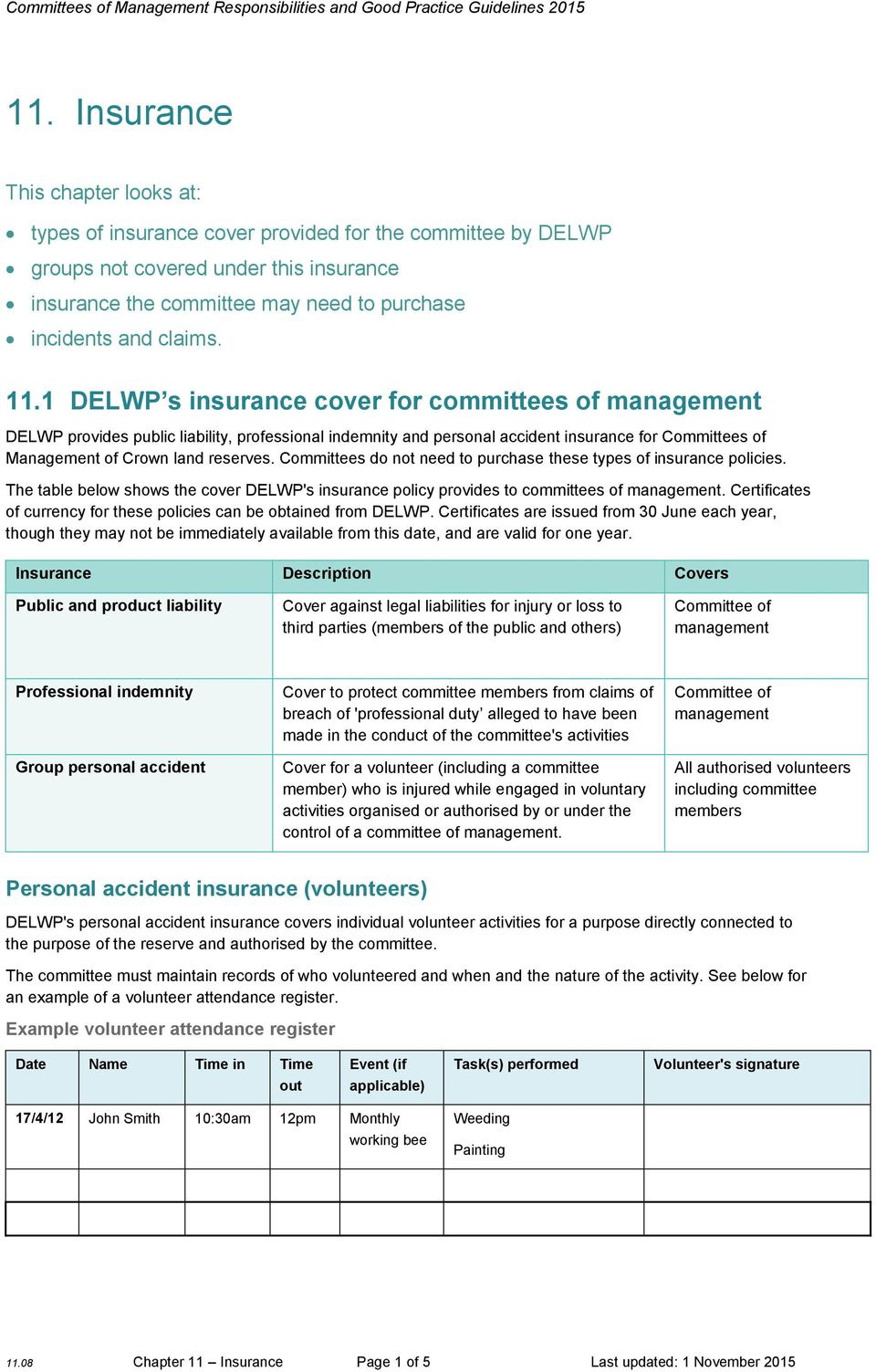 1 DELWP s insurance cover for committees of management DELWP provides public liability, professional indemnity and personal accident insurance for Committees of Management of Crown land reserves.