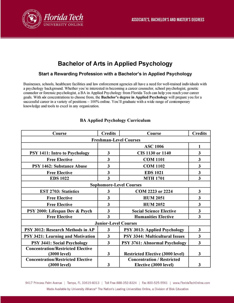 Whether you re interested in becoming a career counselor, school psychologist, genetic counselor or forensic psychologist, a BA in Applied Psychology from Florida Tech can help you reach your career