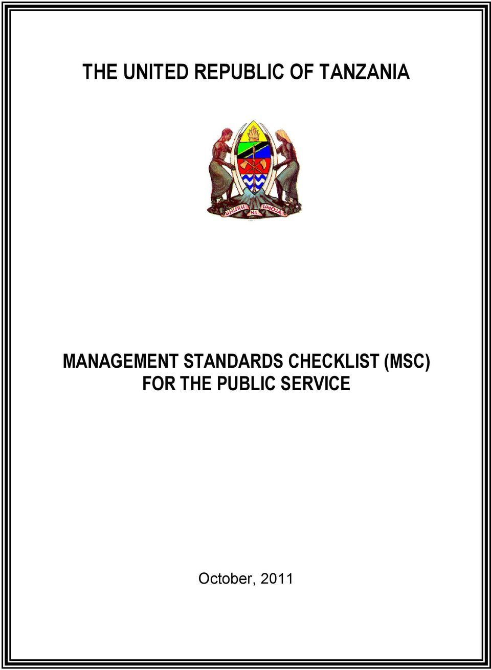 STANDARDS CHECKLIST (MSC)
