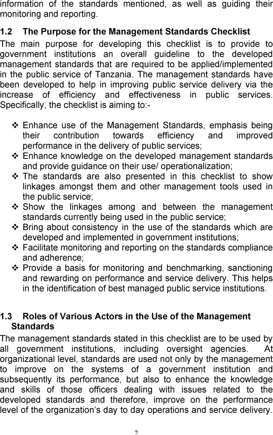 that are required to be applied/implemented in the public service of Tanzania.