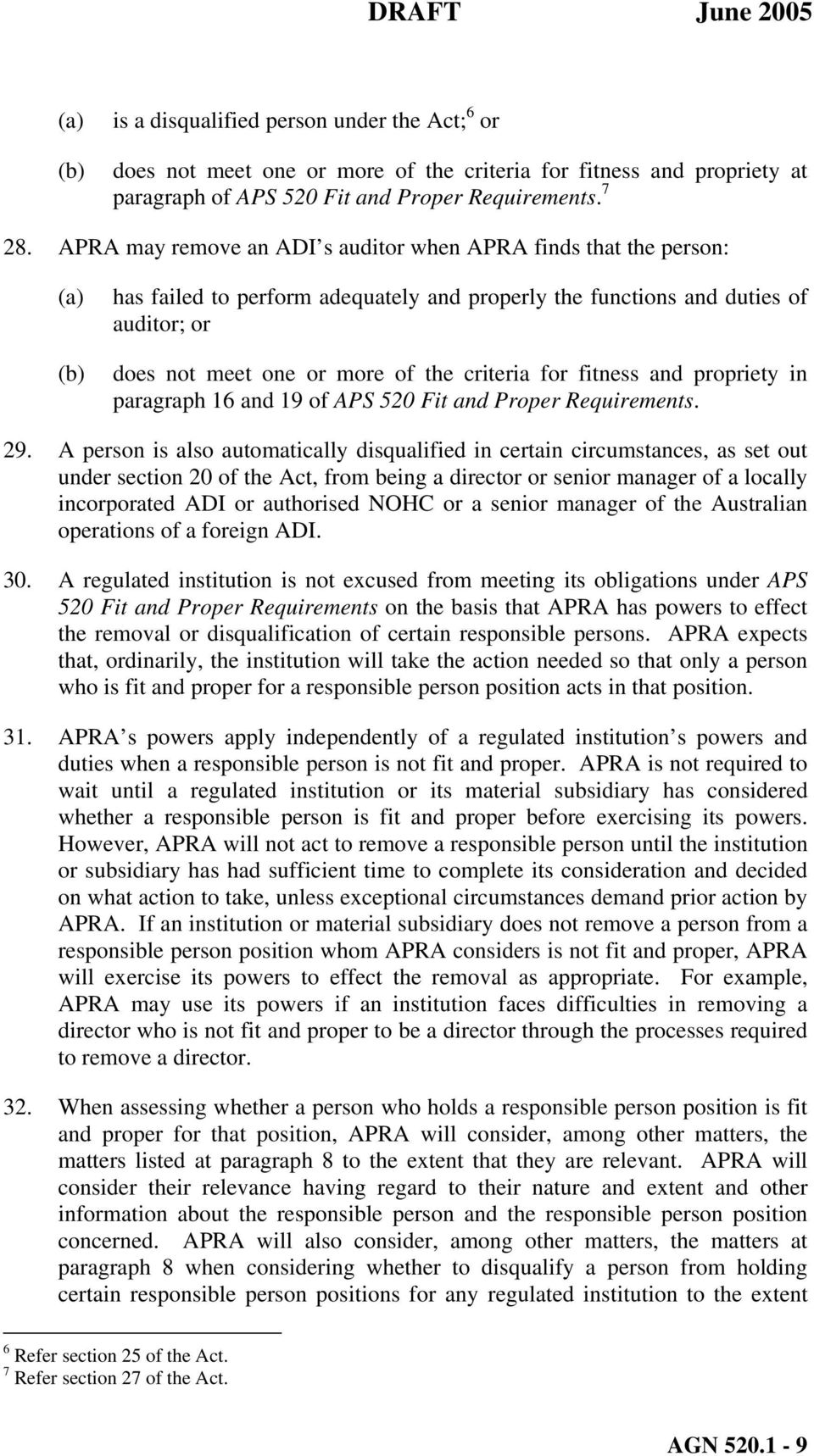 criteria for fitness and propriety in paragraph 16 and 19 of APS 520 Fit and Proper Requirements. 29.