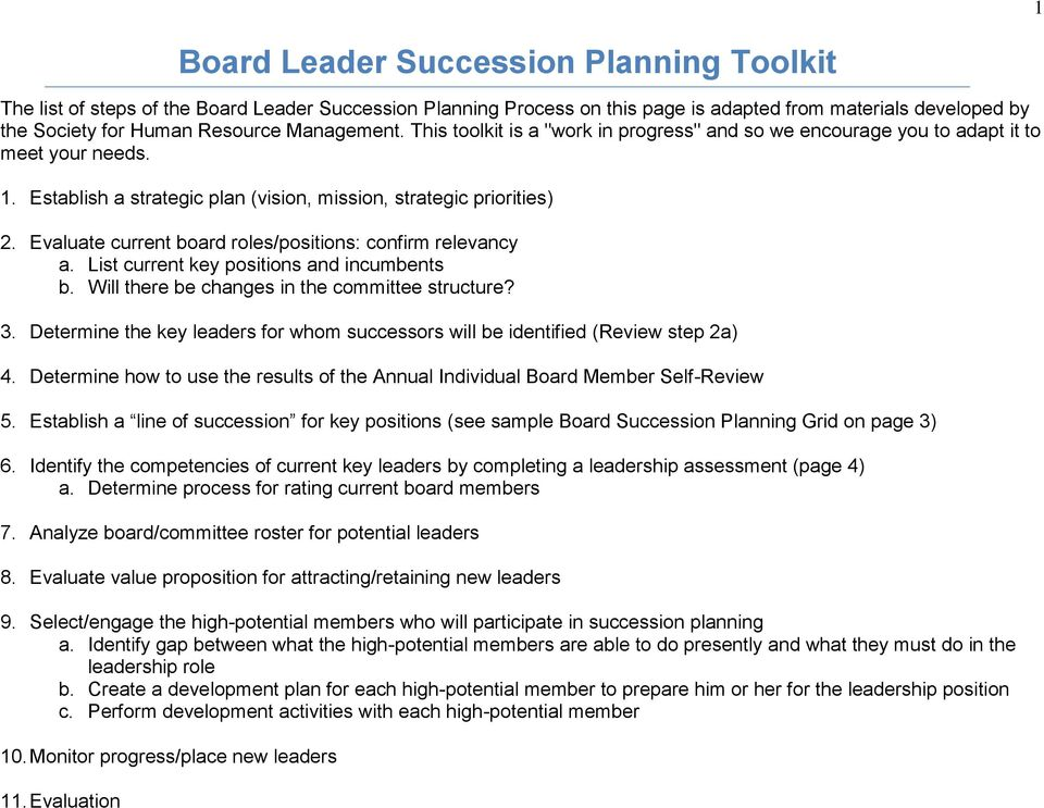 Evaluate current board roles/positions: confirm relevancy a. List current key positions and incumbents b. Will there be changes in the committee structure? 3.