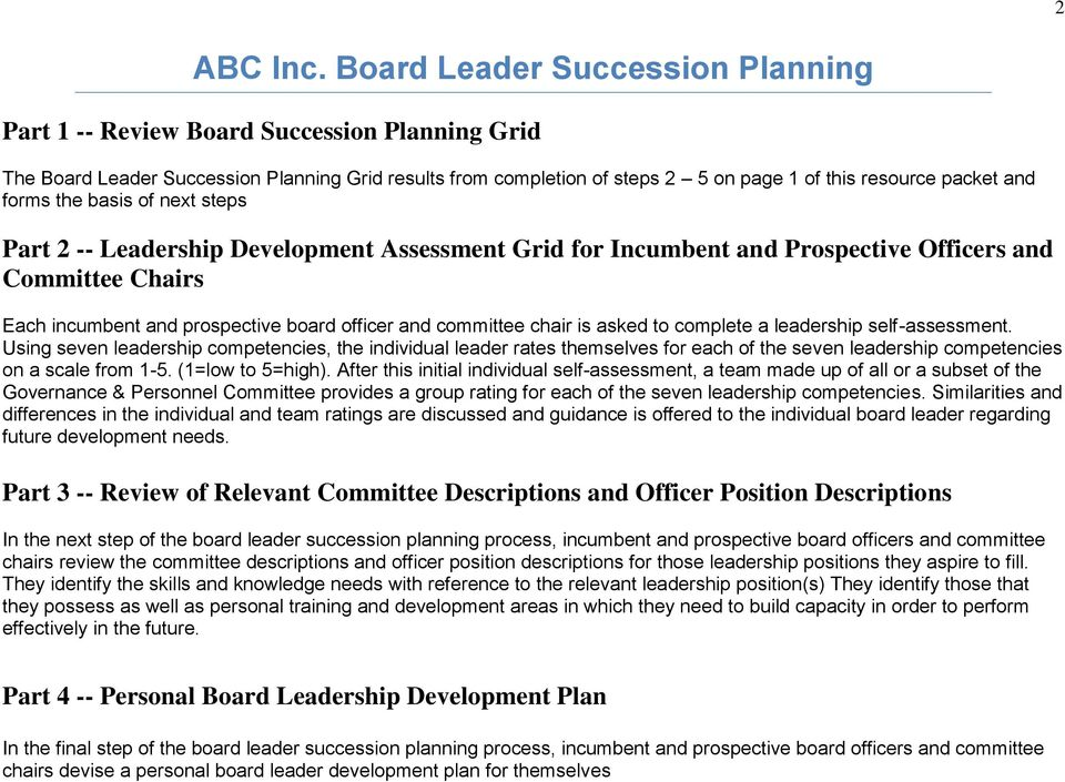forms the basis of next steps Part 2 -- Leadership Development Assessment Grid for Incumbent and Prospective Officers and Committee Chairs Each incumbent and prospective board officer and committee