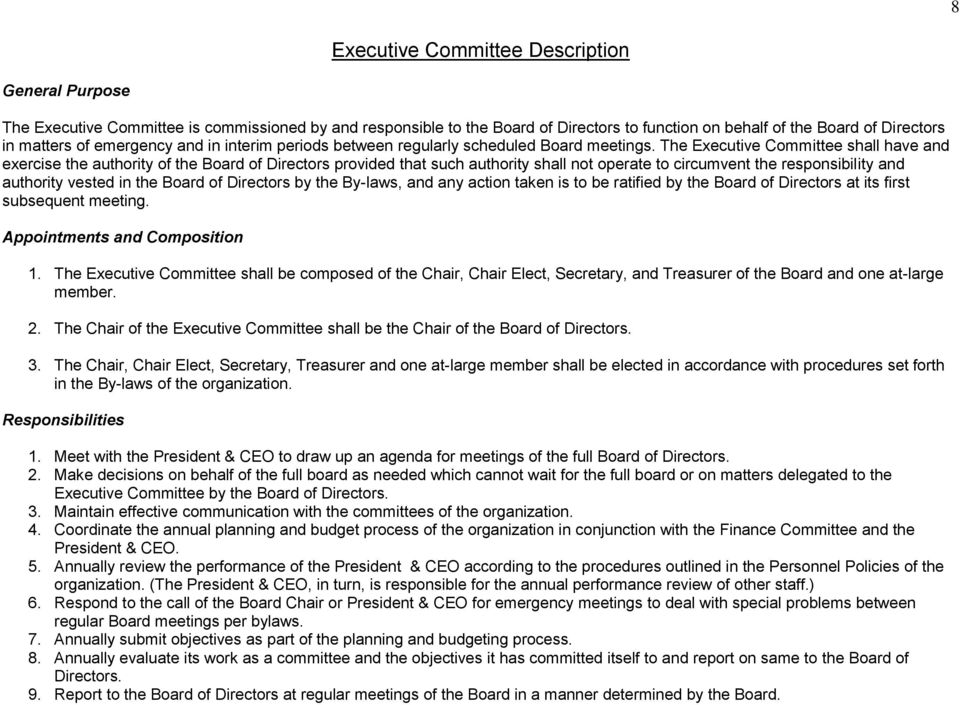 The Executive Committee shall have and exercise the authority of the Board of Directors provided that such authority shall not operate to circumvent the responsibility and authority vested in the