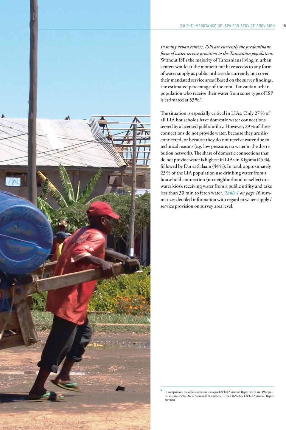 Based on the survey findings, the estimated percentage of the total Tanzanian urban population who receive their water from some type of ISP is estimated at 53 % 5.