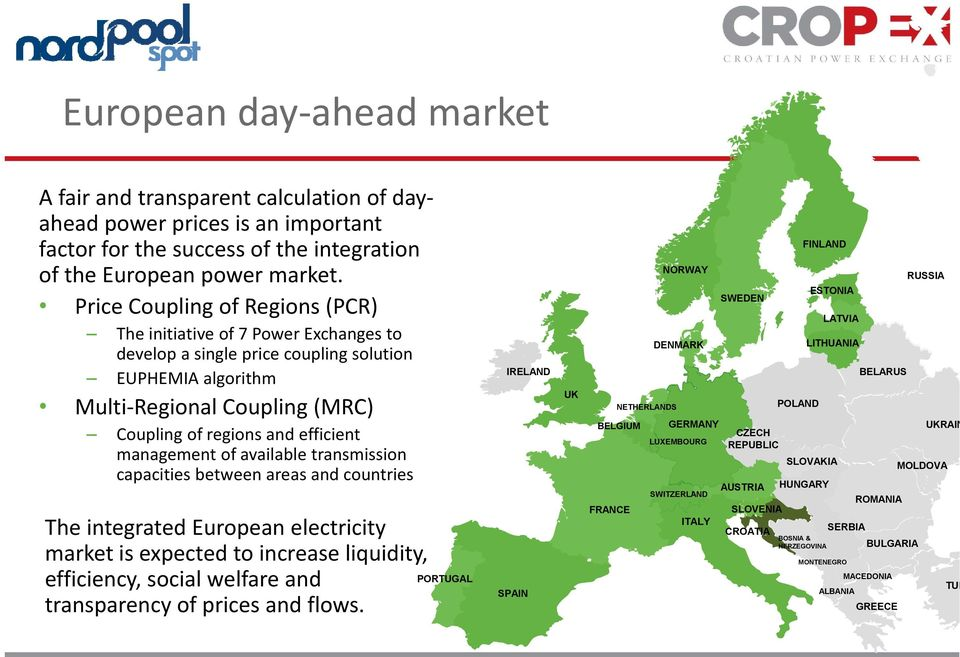 management of available transmission capacities between areas and countries The integrated European electricity market is expected to increase liquidity, efficiency, social welfare and transparency