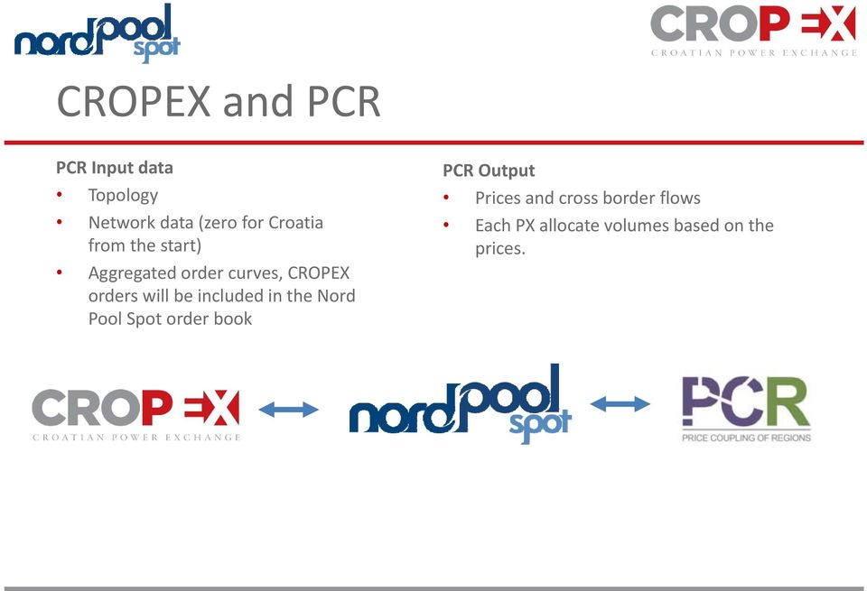will be included in the Nord Pool Spot order book PCR Output