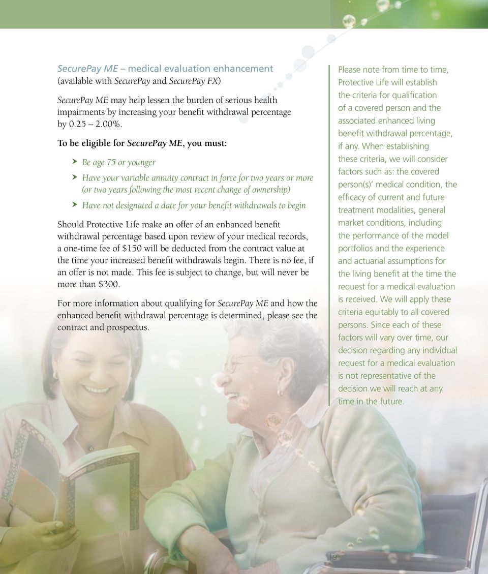 To be eligible for SecurePay ME, you must: Be age 75 or younger Have your variable annuity contract in force for two years or more (or two years following the most recent change of ownership) Have