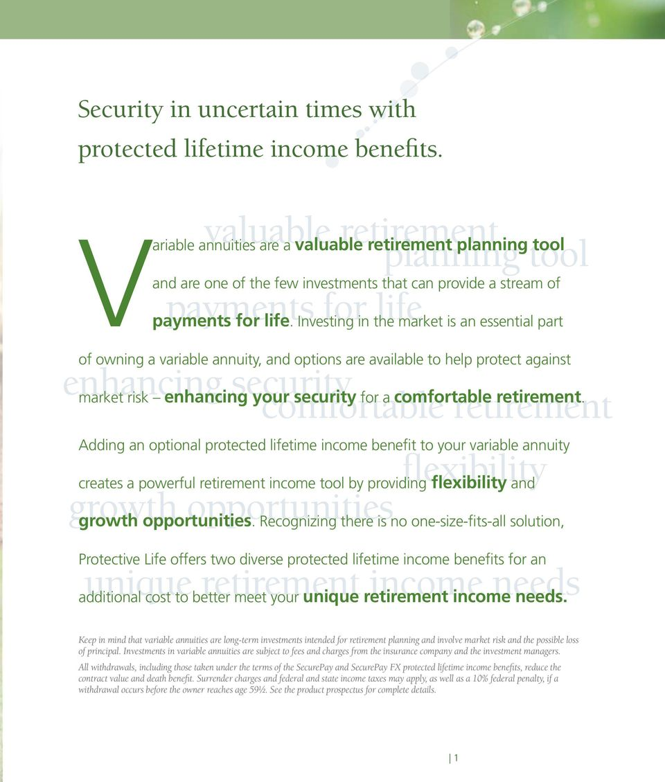 Investing in the market is an essential part of owning a variable annuity, and options are available to help protect against enhancing security market risk enhancing your comfortable security a