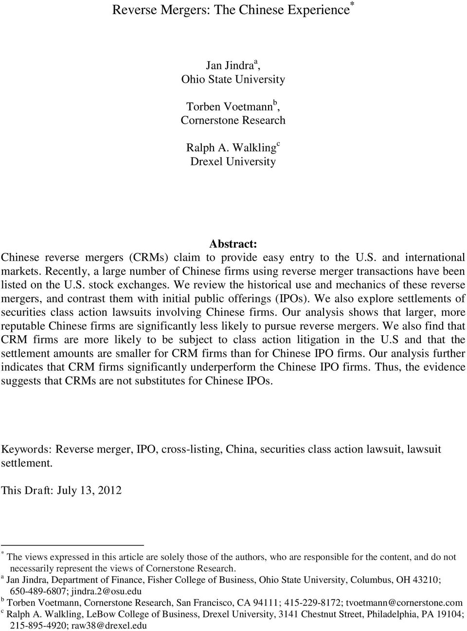 Reverse Mergers: The Chinese Experience - PDF