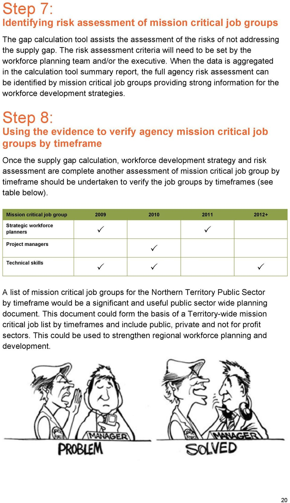 When the data is aggregated in the calculation tool summary report, the full agency risk assessment can be identified by mission critical job groups providing strong information for the workforce
