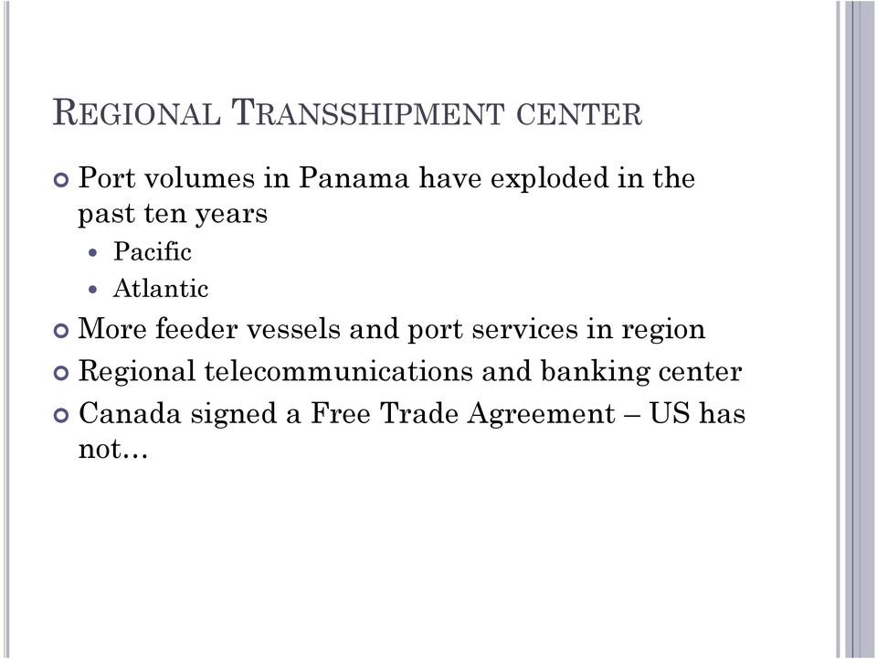 vessels and port services in region Regional