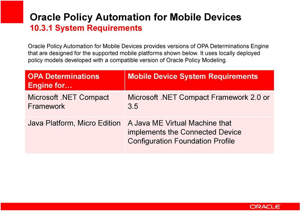 mobile platforms shown below. It uses locally deployed policy models developed with a compatible version of Oracle Policy Modeling.