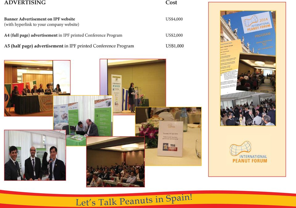 advertisement in IPF printed Conference Program US$2,000 A5
