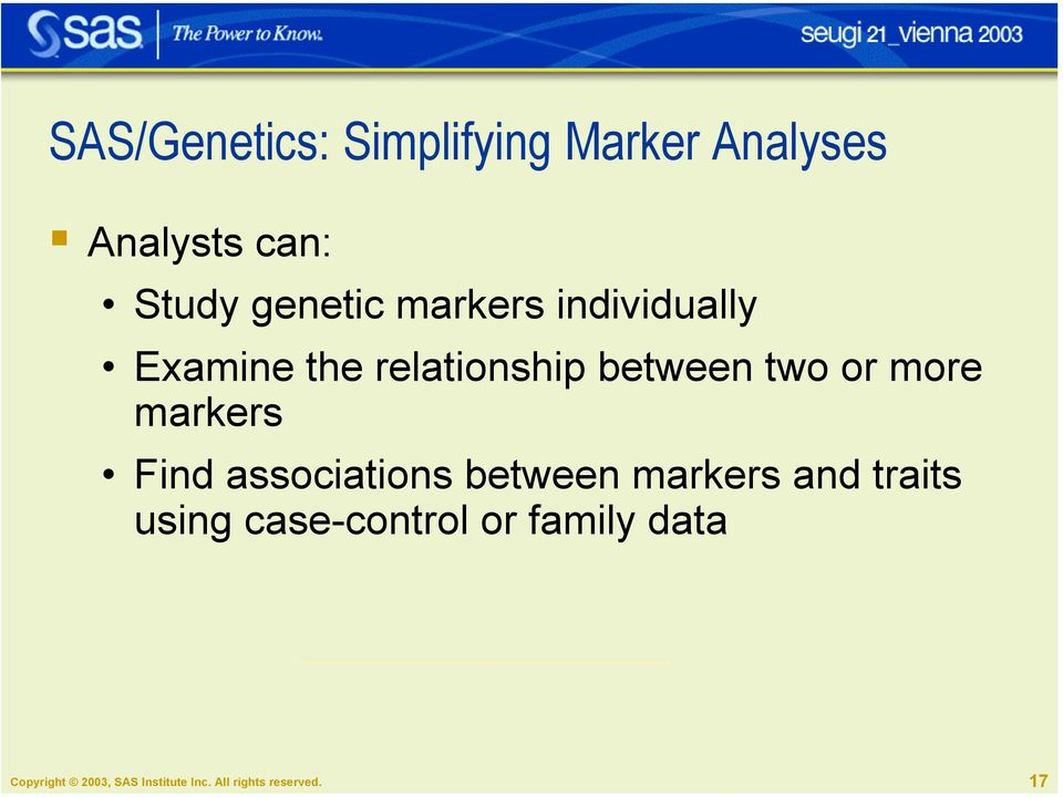 relationship between two or more markers Find associations between