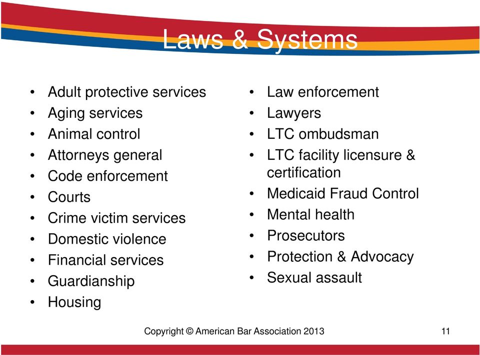 Law enforcement Lawyers LTC ombudsman LTC facility licensure & certification Medicaid Fraud Control